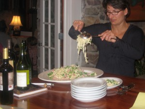 Lisa, Al Dente's first employee serves up Al Dente Pasta with Ham and Peas