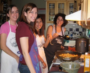 marra with friends at cooking class