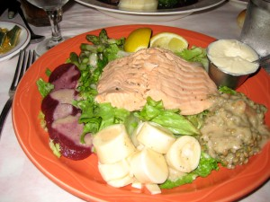 Poached Salmon with Crudites