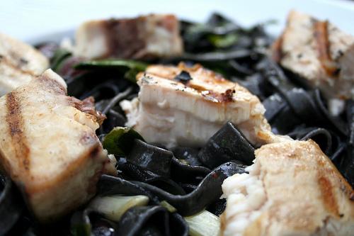 Squid Ink Pasta with Swordfish