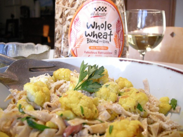 whole wheat fettuccine with roasted cauliflower