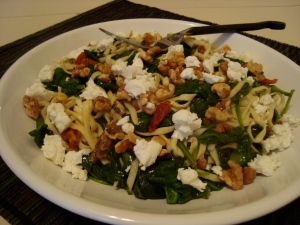 Al Dente Pasta with Spinach, Pancetta and Goat Cheese