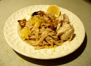 Al Dente Whole Wheat Fettuccine with Ingredients from the Delallo Olive Bar